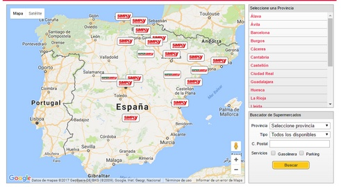 mapa tiendas simply en espana